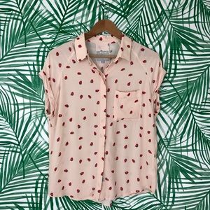 Rails Chase Pale Pink Strawberry Button Down Top